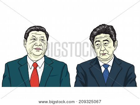Xi Jinping with Shinzo Abe. Vector Portrait Drawing Illustration, October 17, 2017