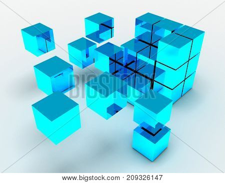 Abstract Cubes Concept. 3D Rendered Illustration