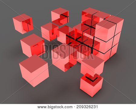 abstract cubes concept . 3d rendered illustration