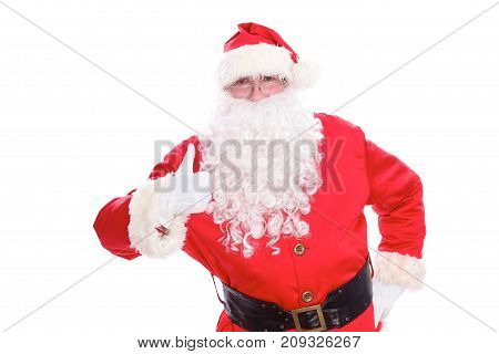 Kind Santa Claus thumb up, isolated on white background.