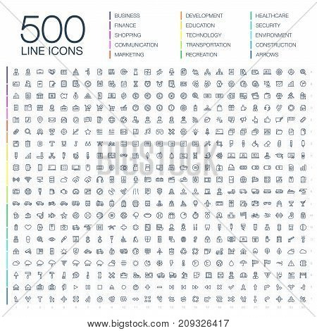 Vector illustration of 500 thin line business icons. Finance, shopping, communication technology, market, app develop, education, transport, healthcare, environment and security. Flat symbols set
