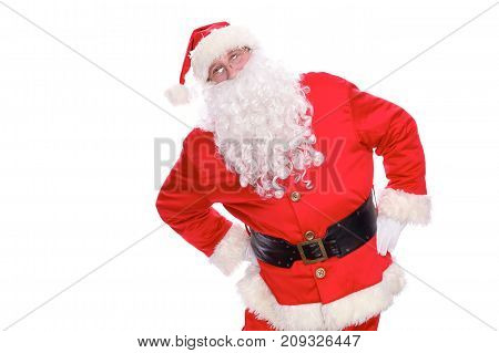 Kind Santa Claus, isolated on white background.