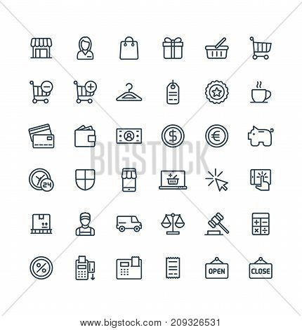 Vector thin line icons set and graphic design elements. Illustration with shopping, e-commerce outline symbols. Internet market, store, delivery, gift box, bag, payment, pay per click pictogram