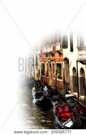 Moored gondolas in Venice with Copy Space