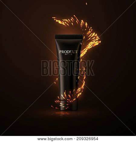 Cosmetic cream or shower gel packaging design. Fashion skin care advertising poster. Black cream tube with fire sparkles. Skincare cosmetic product. 3d realistic vector illustration.