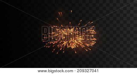 Glowing firework burst shape isolated on black background. Shiny firecracker explosion. Sparkling light particles. Glittering flash. Vector holiday illustration. Design elements