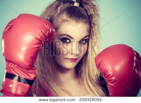 Cute Girl In Red Gloves Playing Sports Boxing