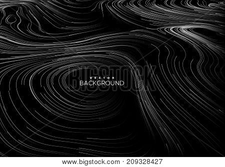 Abstract background with curled linear pattern. Vector sketch illustration of diffusion flowing curled lines. Relief map. Applicable for cover, banner, poster design.
