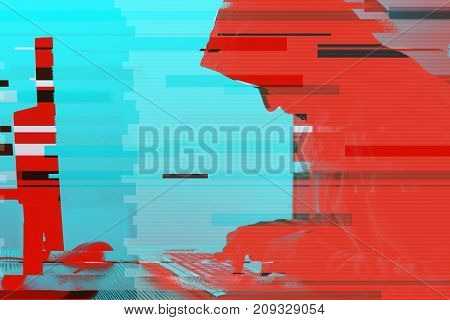 Hooded computer hacker working on desktop PC computer. P2P and piracy computer virus and trojans phishing malware and ransomware concept with glitch effect.