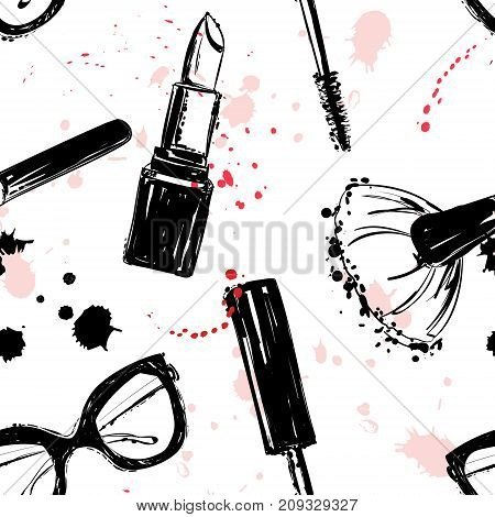 Seamless Makeup Cosmetics Pattern. Vector Hand Drawn Graphic Fashion Illustration: Glasses, Brush, M