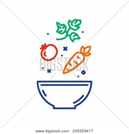 Vegetable salad recipe, eat healthy food, salad fresh ingredients in bowl, vector line icon