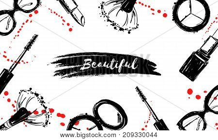 Beautiful Background With Cosmetics Elements, Red Ink Drops, Sprays. Hand Drawn Makeup Brush, Lipsti