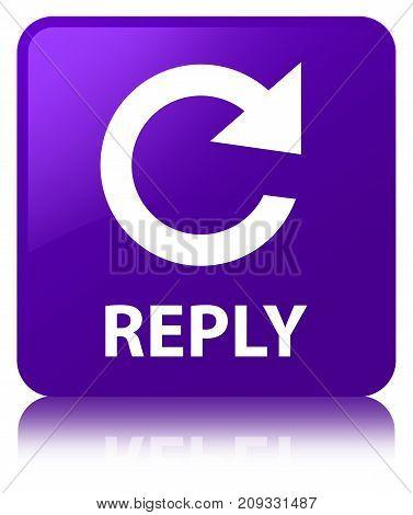 Reply (rotate Arrow Icon) Purple Square Button