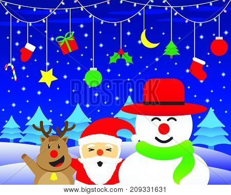 Vector Illustration Of Merry Christmas Three Friends Cute Reindeer Plump Santa Claus And Chubby Snowman Is Standing Happily Under Christmas Lights And Hanging Stuffs On Snowy Ground At Night Time.