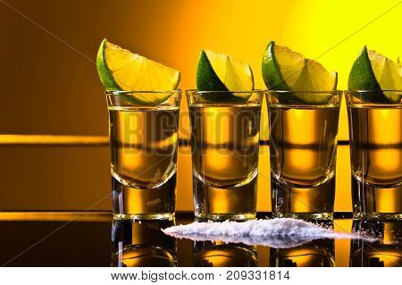 Gold Tequila With Lime .