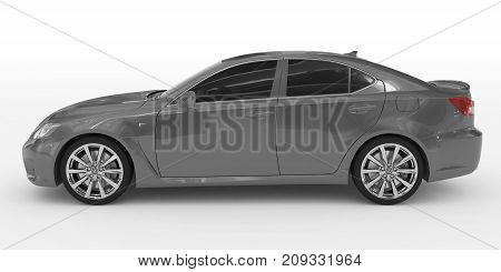 Car Isolated On White - Gray Paint, Tinted Glass - Left Side View