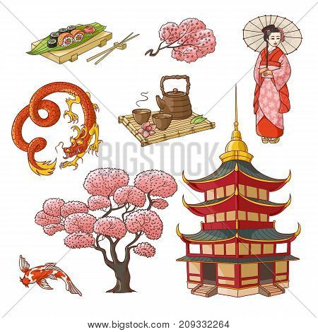 Set of Japanese culture elements - geisha, sakura, koi, sushi, pagoda, tea, dragon, hand drawn vector illustration isolated on white background. Set of Japanese culture symbols, icons, elements