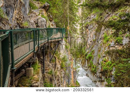 Walkway in Johnston Canyon, Bow Valley Parkway, Banff National Park, Canada.