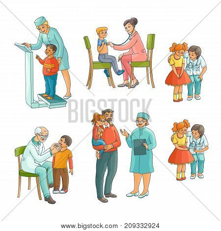 Set of male and female pediatrician, doctor doing medical exam for kids, children, flat cartoon vector illustration isolated on white background. Set of kids, children and doctors, pediatricians