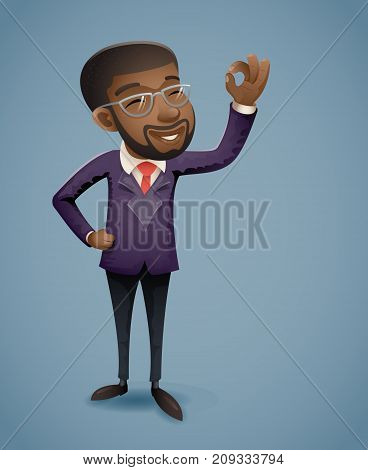 OK Hand Afro American African European Businessman Character Presentation Demonstration Card Call Greeting Banking Vintage Hand Icon Retro Cartoon Design Vector Illustration