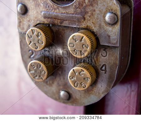 Fragment of a mechanical combination lock with rotary controls