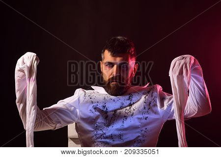 Halloween Mummy Hipster Standing On Brown Background