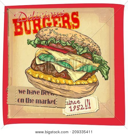 An hand drawn vector - fast food placard. Poster of HAMBURGER.