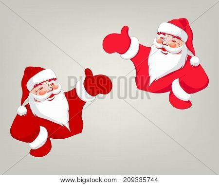 drawing of Santa Claus, hand indicating direction, red color