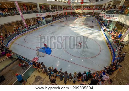 EDMONTON, CANADA - JULY 7, 2017 : Ice hockey arena in the West Edmonton Mall. Its the largest shopping mall in North America and the tenth largest in the world.