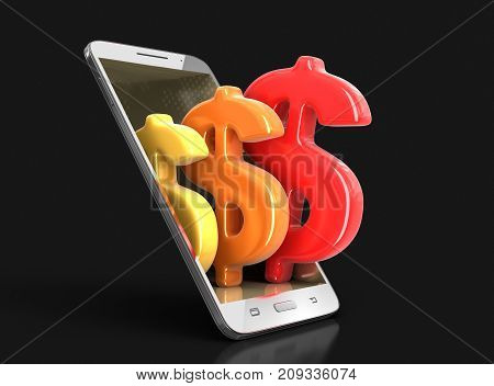 3d Illustration. Touchscreen smartphone with dollar sign. Image with clipping path.