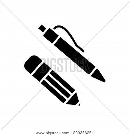 pen and pencil icon, illustration, vector sign on isolated background