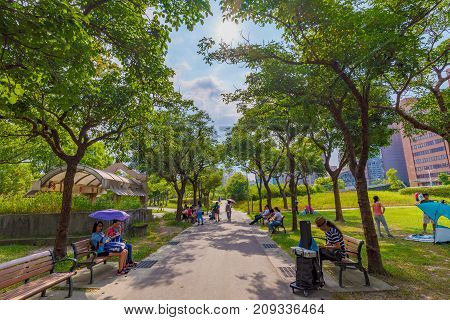 TAICHUNG TAIWAN - JULY 23: This is a scenic view of a treelined path in Daan forest park a famous park in the downtown area on July 23 2017 in Taichung