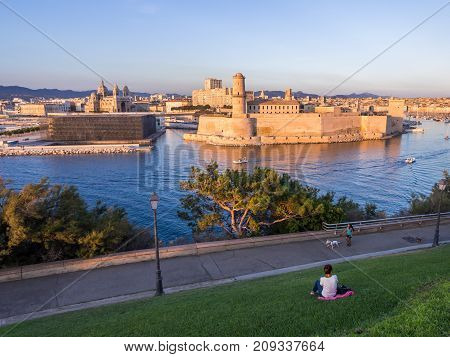 MARSEILLE FRANCE - AUGUST 07 2017: Saint Jean Castle and Cathedral de la Major and the Vieux port in Marseille France as seen from the Palais du Pharo.