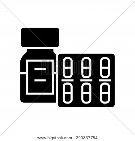 pills and tablets and bottle icon, illustration, vector sign on isolated background