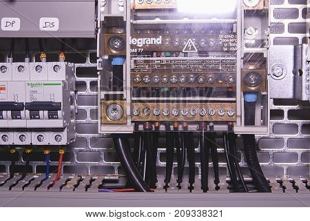 HUSTOPECE, CZECH REPUBLIC - APRIL 10, 2017: Image shows control cubicle. Schneider circuit breakers and Legrand electric device inside power case.
