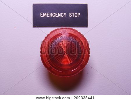 Emergency stop. Emergency button. Red electric button