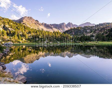 Estany Primer lake in Andorra Pyrenees Mountains.