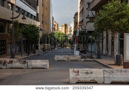 Roadblocks In Rue Du Parlement That Limit Access To Central Jenmeh Square, In Beirut, Lebanon