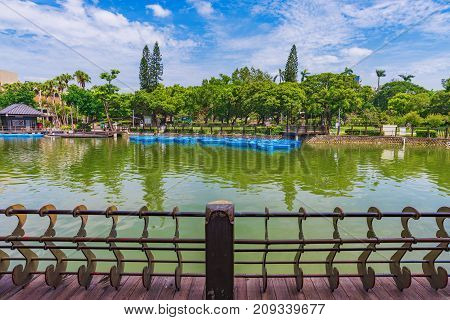 Taichung park lake view and scenery in Taiwan