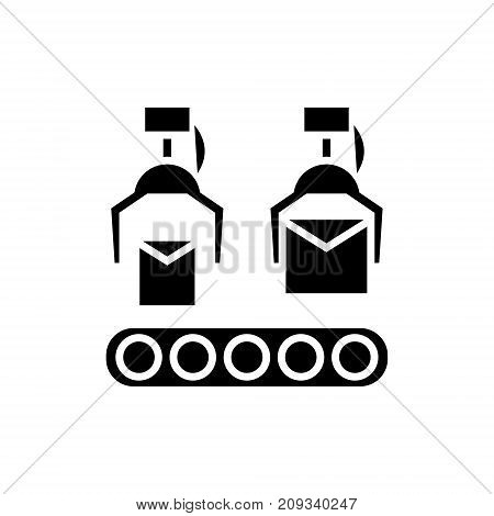 production line icon, illustration, vector sign on isolated background