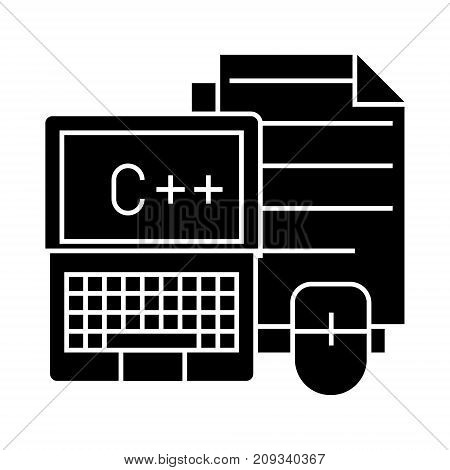 programming - coding - notebook, mouse, docs icon, illustration, vector sign on isolated background
