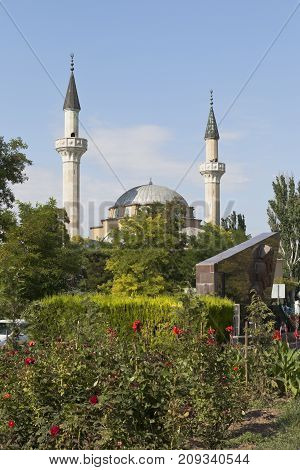 Evpatoria, Republic of Crimea, Russia - July 19, 2017: Juma-Jami Mosque in the resort town of Evpatoria, Crimea
