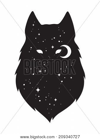 Silhouette Of Wolf With Crescent Moon And Stars Isolated. Sticker, Black Work, Print Or Flash Tattoo