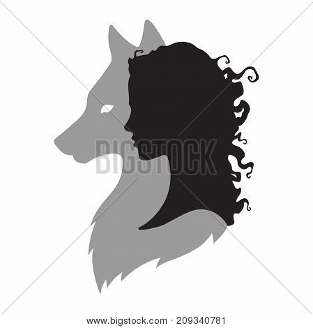 Silhouette Of Beautiful Woman With Shadow Of Wolf Isolated. Sticker, Print Or Tattoo Design Vector I