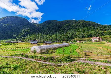 Rural countryside farming area on a sunny day