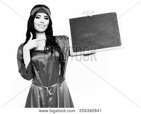 Smiling Happy Sexy Girl In Silk Robe Holding Black Board