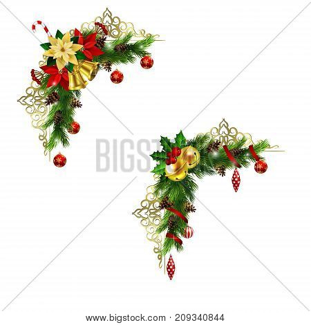 Christmas corner decoration set with evergreen treess golden forging and poinsettia with two golden bells isolated vector