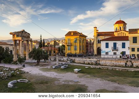 ATHENS, GREECE - OCTOBER 15, 2017: Remains of Roman Agora in the old town of Athens, Greece on October 15, 2017.
