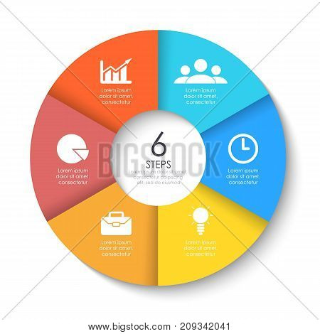 Set of round infographic diagram. Circles of 6 elements or steps. Vector EPS10