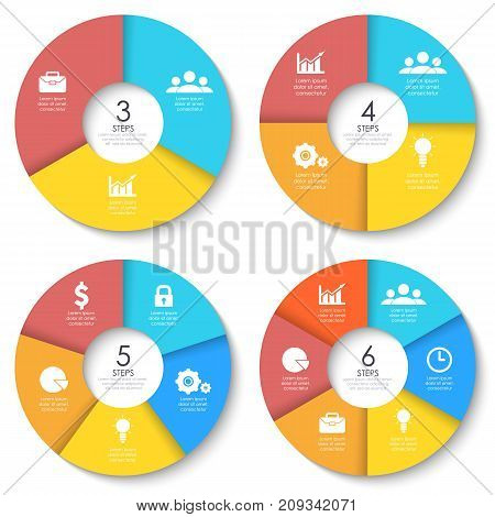 Set of round infographic diagram. Circles of 2, 3, 4, 6 elements or steps. Vector EPS10